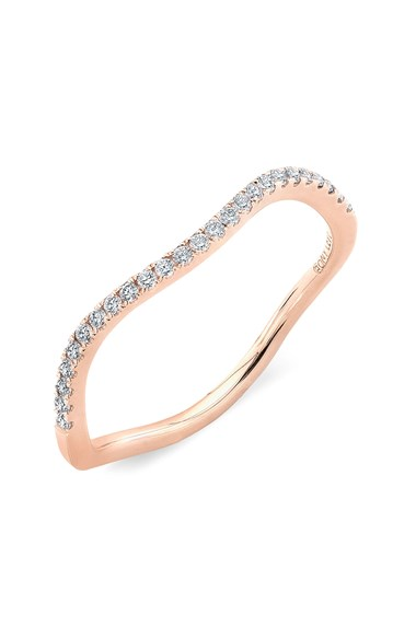 This delicate Bony Levy wave ring in Rose Gold + diamonds. Nordstrom, $795